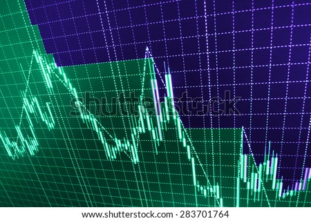 Stock market chart, graph on blue background. New modern computer and business strategy as concept. Financial diagram with candlestick chart used in market analysis for variation report of share price