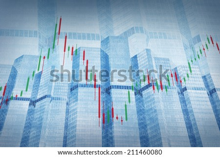 Stock Market Chart on Blue Tower Background