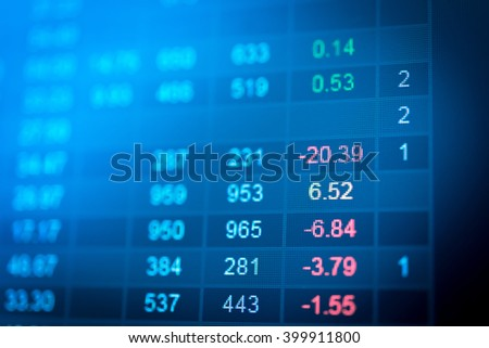 Stock market chart represent in business graph with trending. Stock market graph in digital screen. Stock market data & Forex on LED display concept. Stock market up and Stock market down as concept.