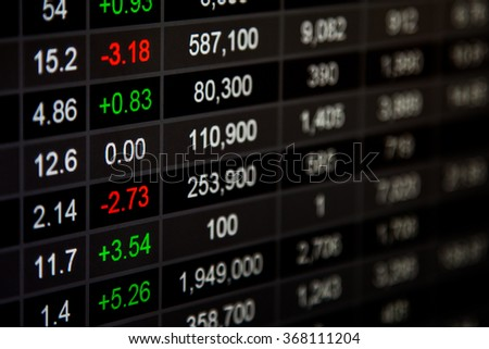 Stock market chart,Stock market data on LED display concept.