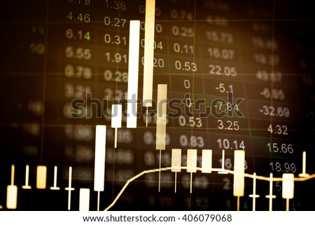 Stock market chart. Stock market data on LED display concept.