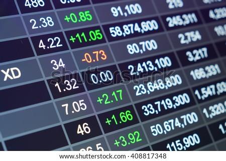 Stock market chart, Stock market data on LED display concept - stock photo