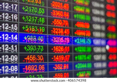Stock market chart,Stock market data on LED display not stable concept. - stock photo
