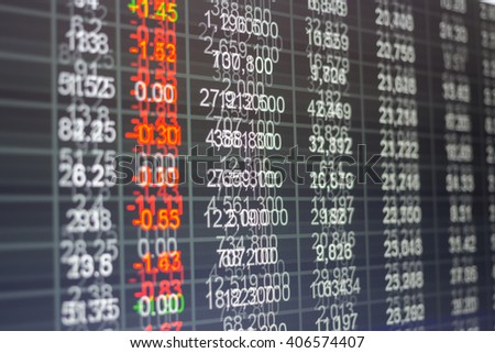Stock market chart,Stock market data on LED display not stable concept.