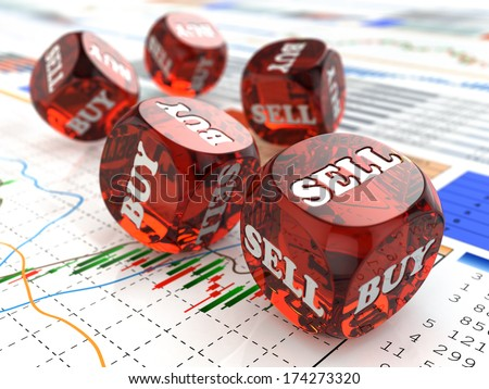 Stock market concept. Dice on financial graph. 3d - stock photo