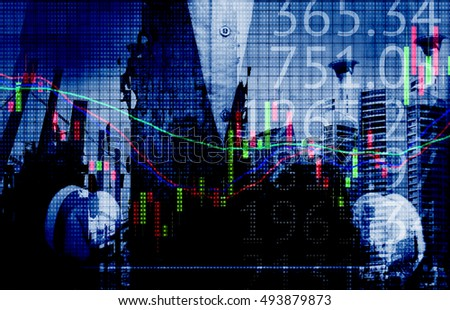Stock market concept. Man suit holding tablet,stock graph and number with dot abstract building background