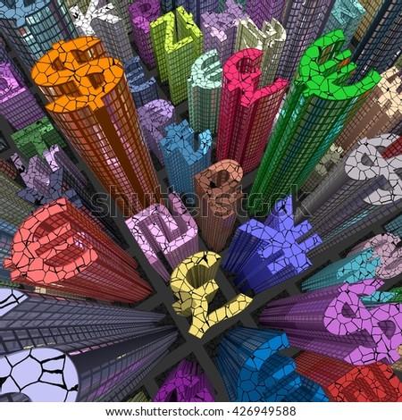 stock market crash: currency skyscraper colored - 3D illustration - stock photo