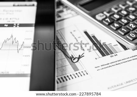 Stock market decline, analysis of the market data - stock photo