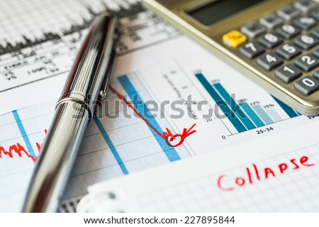 Stock market decline, the counting losses - stock photo