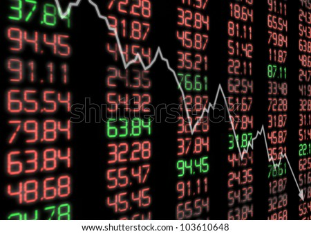 Stock Market Down - Arrow Aiming Down on Display With Red and Green Figures - stock photo