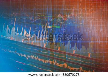 Stock market graph analysis on the screen background. - stock photo