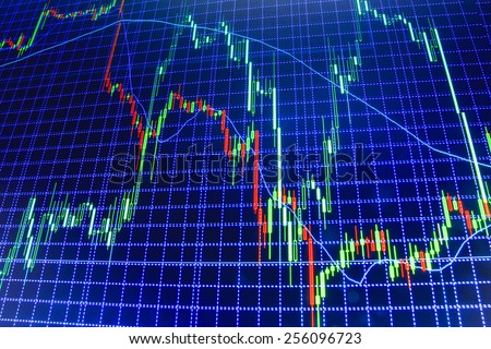 Stock market graph and bar chart price display. Abstract financial background trade colorful green, blue, red abstract. Data on live computer screen. Display of quotes pricing graph visualization