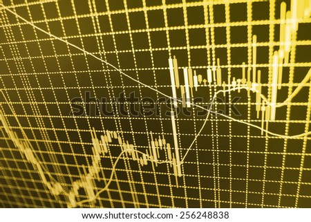 Stock market graph and bar chart price display. Abstract financial background trade colorful green, blue, red abstract. Data on live computer screen. Display of quotes pricing graph visualization - stock photo