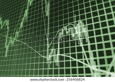 Stock market graph and bar chart price display. Abstract financial background trade colorful green, blue, red abstract. Data on live computer screen. Display of quotes  MORE SIMILAR IN MY GALLERY - stock photo