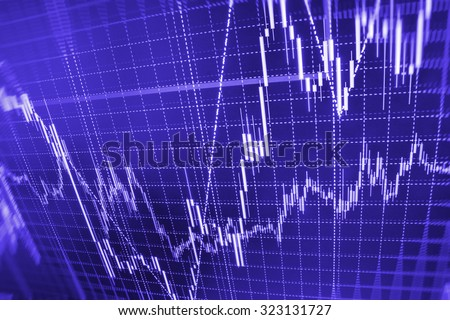 Stock market graph and bar chart price display. Data on live computer screen. Display of quotes pricing graph visualization. Abstract financial background trade on colorful computer monitor display.