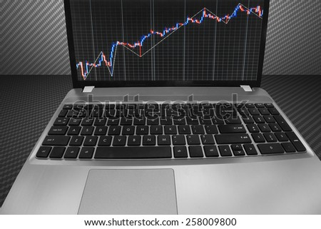 Stock market graph and bar chart price display on computer laptop monitor screen. Abstract financial background trade. Data on live computer screen. quotes pricing visualization. Trend analysis. - stock photo