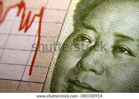 Stock Market Graph next to a Chinese banknote (showing Mao). Red downtrend indicates the stock market recession period - stock photo