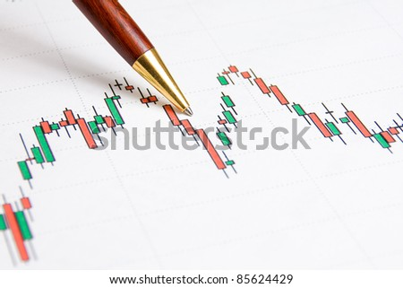Stock market graph with a pen