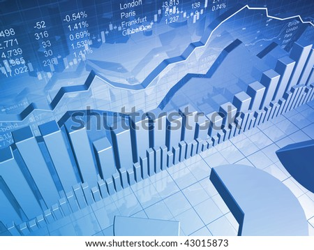 Stock Market Graph with Bar Charts