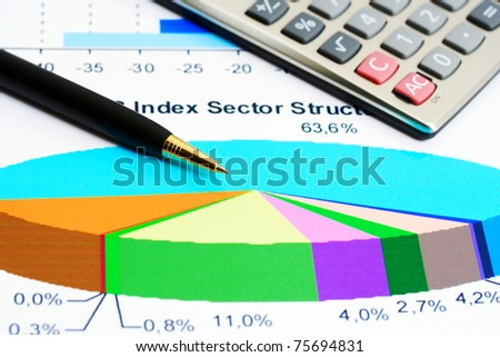 Stock market graphs analysis - stock photo