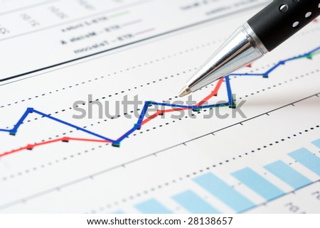 Stock market graphs and charts. - stock photo