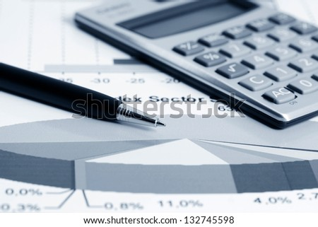 Stock market graphs and charts analysis - stock photo
