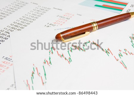 Stock market graphs and numbers list