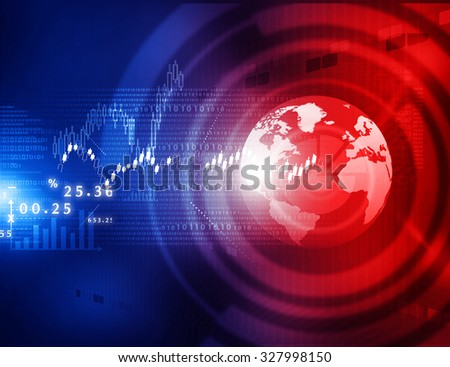 Stock market graphs, business chart  with tech world 	 - stock photo