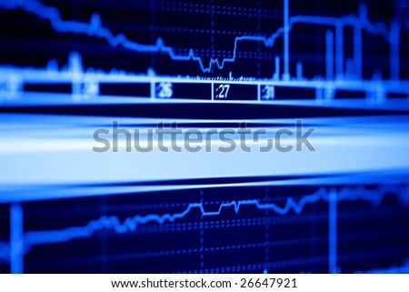 Stock market graphs on the lcd monitor. - stock photo