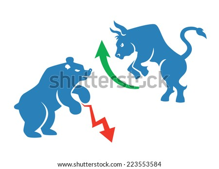 stock market icons, bear and bull with red and green arrows - stock photo