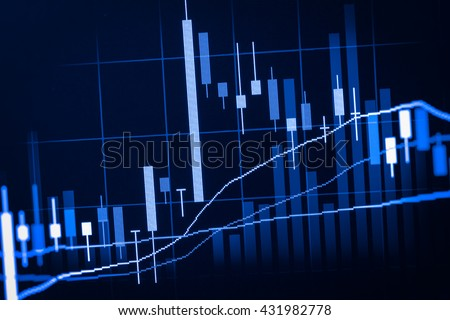 Stock market indicator and financial data view from LED. Double explosure  financial graph and stock indicator including stock education or marketing analysis. Abstract financial indicator background.