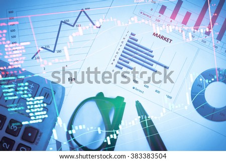 Stock Market Information and Graph. Trend of Forex, Commodities, Equities Markets, Fixed Income Markets and Emerging Markets.- Business Concept and Finance concept. - stock photo