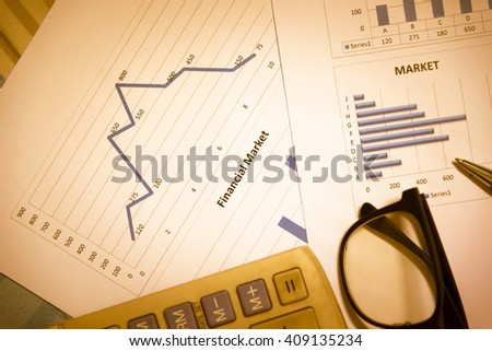 Stock Market Information and Graph. Trend of forex, Commodities, Equities Markets, Fixed Income Markets and Emerging Markets. - stock photo