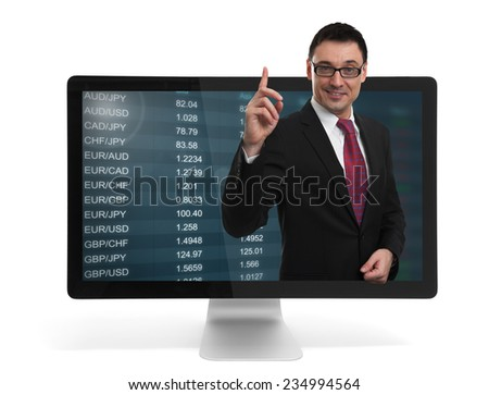 stock market on computer monitor. Online education - stock photo