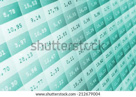 Stock market price digital display abstract. Modern virtual technology, photograph binary code on abstract technology background. Media green and blue image with graphs and icons. Shallow DOF effect - stock photo