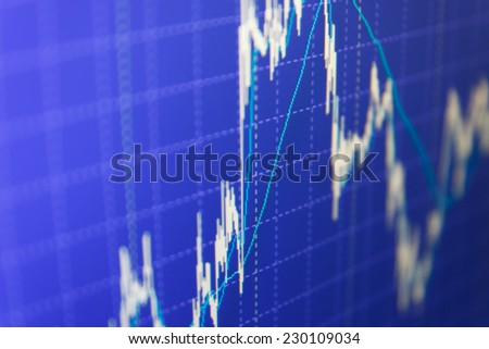 Stock market quotes. Computer screen. Price movement. Stock exchange market business. Stock exchange market business. Stock market chart on green background. Business stats screen Computer screen.  - stock photo