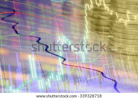 Stock market quotes on display. Macro close-up. - stock photo