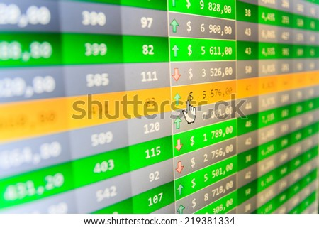 Stock market. Stock data live on-line. Price movement. Live online screen. Data analyzing. Stock exchange market. Concept profit gain with growing up numbers. Computer ticker monitor. Ticker board.   - stock photo