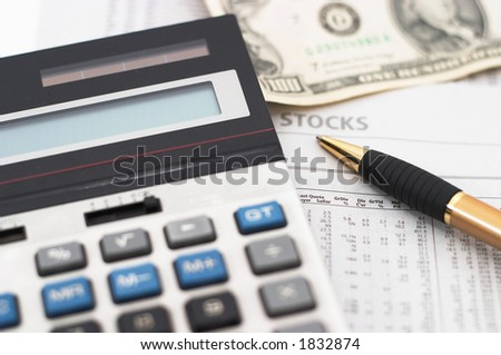 Stock Market Table Analysis Calculator Pen Stock Photo 1832894
