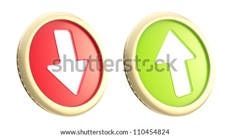 Stock market trading fluctuation: up and down arrows as coin token isolated on white - stock photo