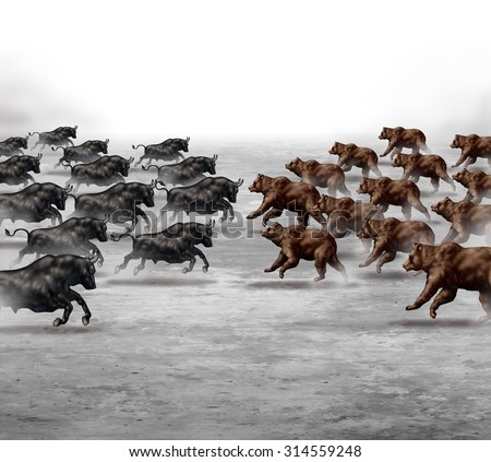 Stock market trend business concept and financial prediction uncertainty symbol as a heard of bulls and bears running towards each other to set the direction of an economic forecast. - stock photo