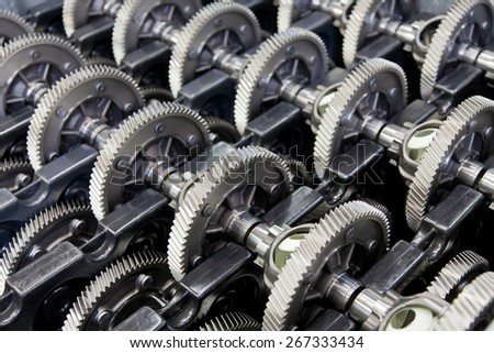 Stock of gear wheels - stock photo