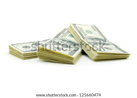 stock of money isolated on white background - stock photo