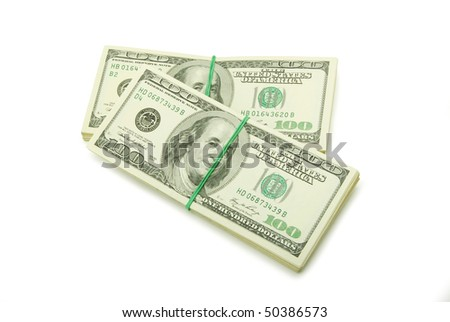 stock of money isolated on white background