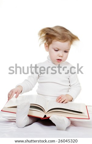Stock photo: an image of a baby with a book