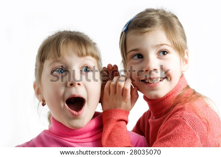 Stock photo: an image of two little surprised girls