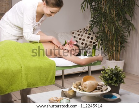stock photo attractive lady getting spa treatment - stock photo