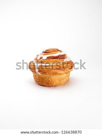 Stock Photo: cinnamon roll isolated on white background - stock photo