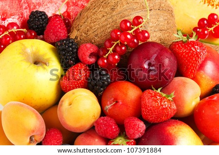 Stock Photo:  High quality collection of fruits and vegetables borders on a white background - stock photo