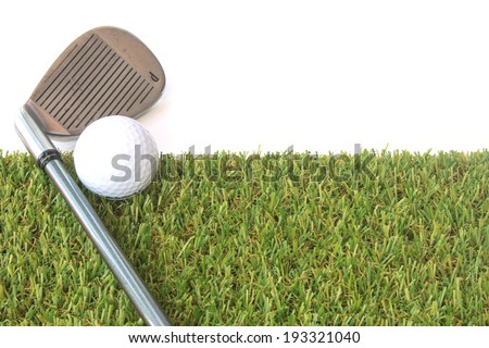 Stock Photo - isolated golf ball on green grass over white background - stock photo